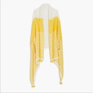 NWT J.Crew Yellow Striped Pom Pom Cape Scarf